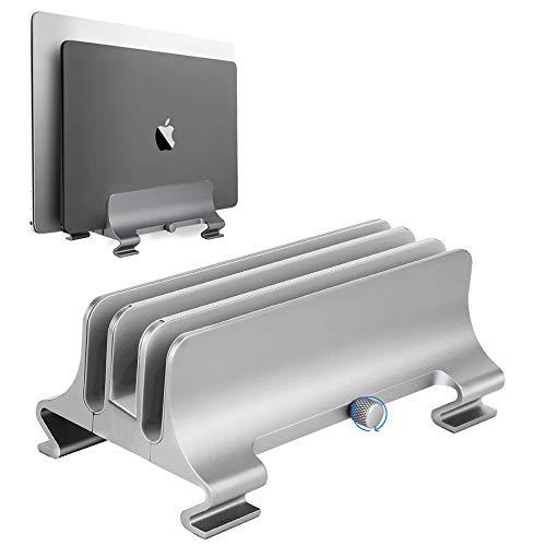 (アップグレード版)Syslux ノートパソコン スタンドPCスタンド 縦置き 3台収納、ホルダー調整可能、ねじ式の調節、アルミ製、省スペース化MacBook/Dell/iPad/Laptop/Lenovo適用(シルバー)