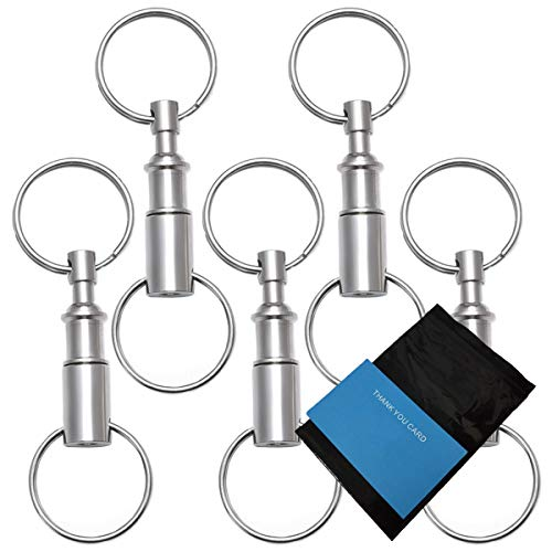 Rongbo 5 Pack Quick Release Detachable Pull Apart Key Rings Keychains,Double Spring Split Snap Seperate Chain Lock Holder Convenient Accessory Gift (5Pack)