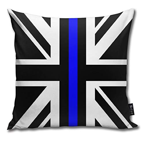 QUEMIN Union Jack Thin Blue Line Flag Square Decorative Pillow Cushion Cover, Fashion Style Zippered Pillow Cushion Cover 18 x 18 inches