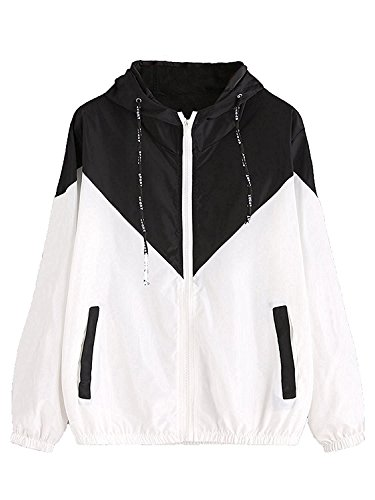 Milumia Women Color Block Drawstring Hooded Zip Up Sports Jacket Windproof Windbreaker with Pocket Black Medium