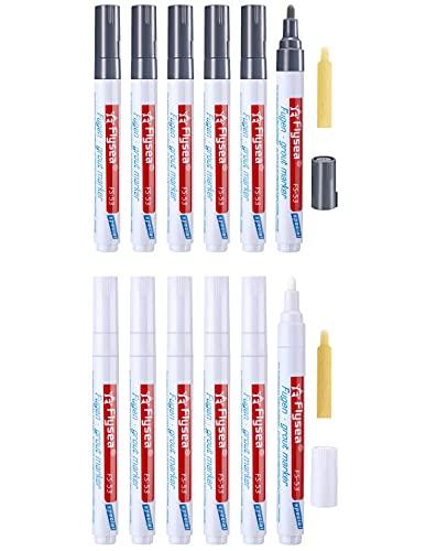 8 lápices para juntas, lechada de azulejos, lápiz para restauración de lechada, rotulador de juntas, con punta de repuesto, marcador de reparación para azulejos, pared y suelo (blanco y gris oscuro)