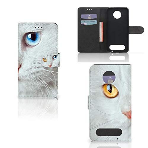 B2Ctelecom Schutzhülle kompatibel für Motorola Moto Z2 Force Lederhülle Weiße Katze - Personalisierung mit Ihrem Wunschnamen oder -tekst
