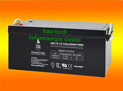 260Ah 12V Phaeton AGM GEL -Deep Cycle- Akku Batterie für Solar Wohnmobil Boot von bau-tech Solarenergie GmbH