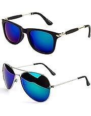Younky Unisex Combo offer Pack of UV Protected Stylish Rctngulr Sunglasses For Men/Women/Boys & Girls (BluStck-BluAV004 |55|Blue) - 2 Sunglass Case