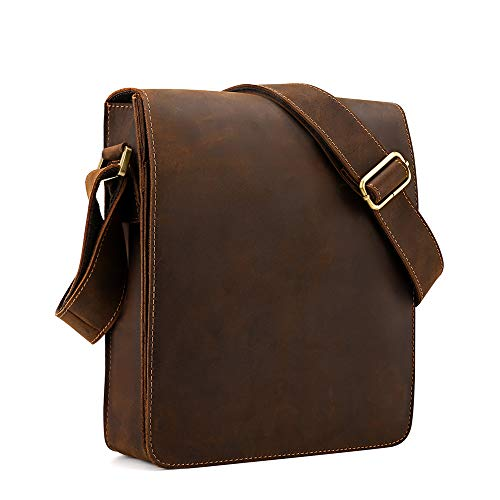 Kattee Vintage Cow Leather Flapover Messenger Bag Fit 10' Laptop (Brown, Small)