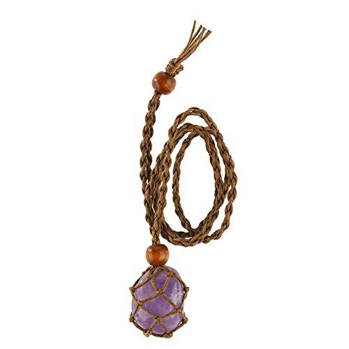 SHILIU Labradorit-Halskette, Naturstein-Anhänger, geflochtene Halskette, Makramee-Halskette für Männer und Frauen, Energie-Halskette