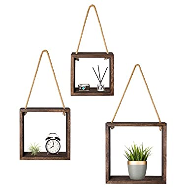 Mkono Hanging Square Floating Shelves Wall Mounted Cube Display Shelf Rustic Shadow Boxes Decorative Boho Home Decor for Living Room Bedroom Apartment Office, Set of 3