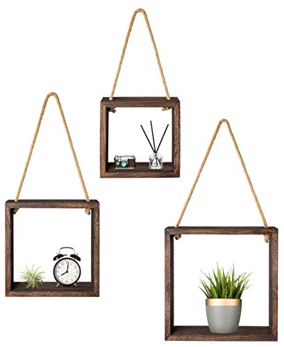 Mkono Hanging Square Floating Shelves Wall Mounted Cube Display Shelf Rustic Shadow Boxes Decorative Home Decor for Living Room Bedroom Apartment Set of 3, Brown