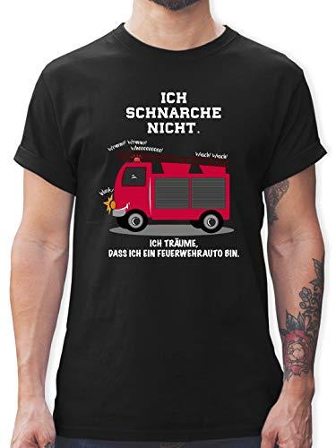Comic Shirts - Ich schnarche Nicht. Ich träume DASS ich EIN Feuerwehrauto Bin - M - Schwarz - Tshirt ich schnarche Nicht - L190 - Tshirt Herren und Männer T-Shirts
