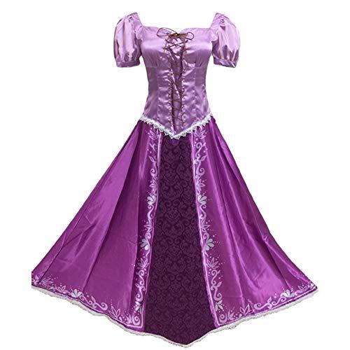 Hotcostyle Tangled Purple Dress Rapunzel Cosplay Costume Princess Lepe Dress Purple Magic