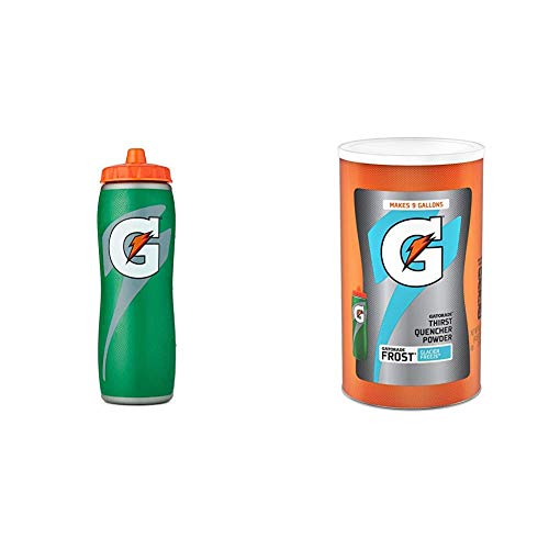 Gatorade 32oz Gator-Skin Bottle, Green, One Size & Gatorade Thirst Quencher Powder, Frost Glacier Freeze, 76.5 Ounce, Pack of 1