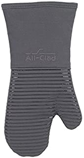 All-Clad Textiles Heavyweight 100-Percent Cotton Twill and Silicone Oven Mitt, Pewter by All Clad Textiles