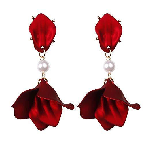 JDWD Damen-Ohrringe aus 920er Silber mit Nadel, sexy Rose, Rot