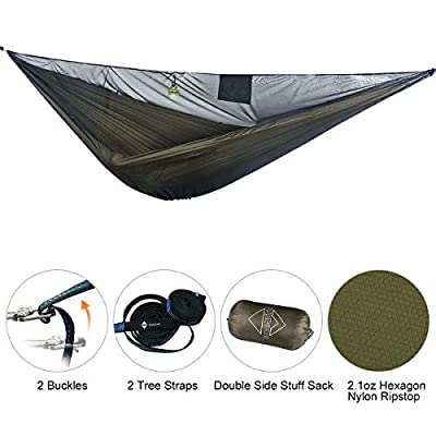 onewind Double Camping Hammock with Mosquito Net,Tree Straps, Ridgline, Compact Storage Bag, Durable Ripstop Nylon 11FT Holding 500lbs, Ideal for Hiking, Beach, Backpack (HMKD7011OD)