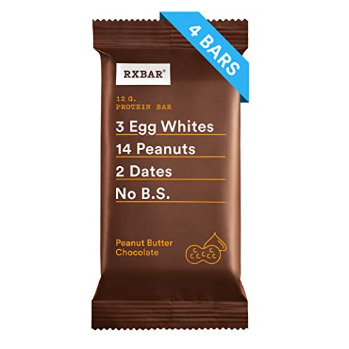 RXBAR, Peanut Butter Chocolate, Protein Bar, 1.83 Ounce (Pack of 4) Breakfast Bar, High Protein Snack