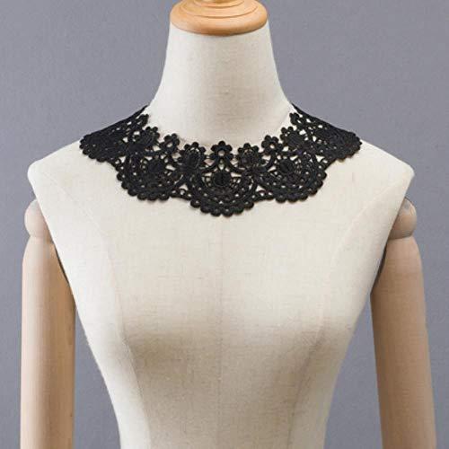 Vestido con apliques de tela de encaje para decoración de disfraces, accesorios de bricolaje, cuello de costura, color blanco y negro