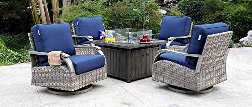 Pacific Casual Canal Boulevard Outdoor Conversation Set with Swivel Lounge Chairs & Gas Fire Pit
