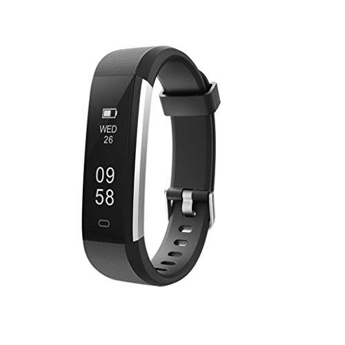 Alexis 2018 Fitness-Tracker, wasserdicht, Schrittzähler, Kalorienzähler, schlankes Armband für Männer, Frauen und Kinder, Schwarz