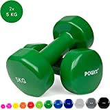 POWRX Vinyl Hanteln Paar Ideal für Gymnastik Aerobic Pilates 0,5 kg – 10 kg I Kurzhantel Set in versch. Farben (Set komplett (0,5-10kg))
