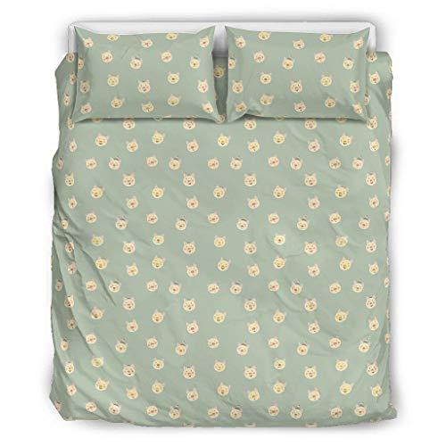 Conjuntos Retro 3 Piezas Almohada Efecto Artístico Corto Animal Confort Coverlets Patrón Europeo Color Negro Cama Doble Blanco 229x229cm