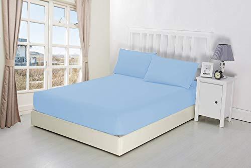 Niys Luxury Bedding Spannbettlaken, extra tief, 40 cm tief, Perkal Einzelbett blau