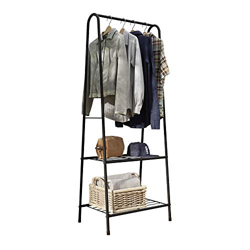 HOME BI Metal Garment Rack,Clothing Rack with Shelves,Laundry Shelf,Closet Storage Orgarnizer,Entryway Shelving Unit with 2-Tier Metal Shelf and Hanging Rod,24' W x13.2 D x63 H (Black)