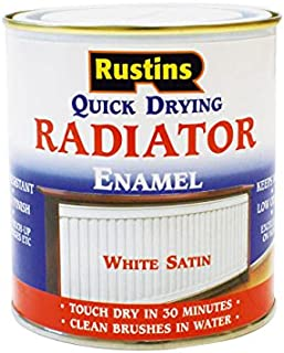 Rustins - Quick Dry Radiator Enamel Paint, Satin White 250ml