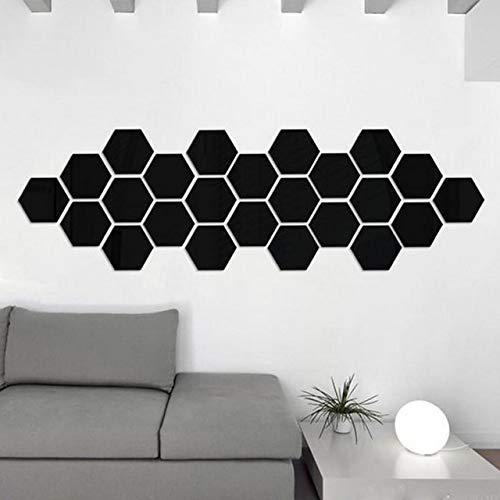 1 set 12 stuks 3D spiegel hexagon verwijderbare muurstickers stickers wooncultuur kunst decoratief zwart