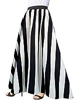 Afibi Women Chiffon Mopping Floor Length Big Hem Solid Beach High-Waist Maxi Skirt (Large, Black 2)