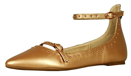 Cambridge Select Women's Closed Pointed Toe Studded Ankle Strappy Ballet Flat (8 B(M) US, Rose Gold)