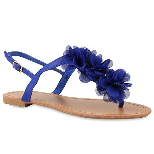 Damen Dianetten Blumen Sandalen Zehentrenner Sommer Flats Beach Zierperlen Schuhe 114997 Blau 38 Flandell
