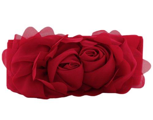 Bonamart Damen Sweet Blume Spitze Elastisches Stoff Breit Gürtel Belt - ausverkauf angebote