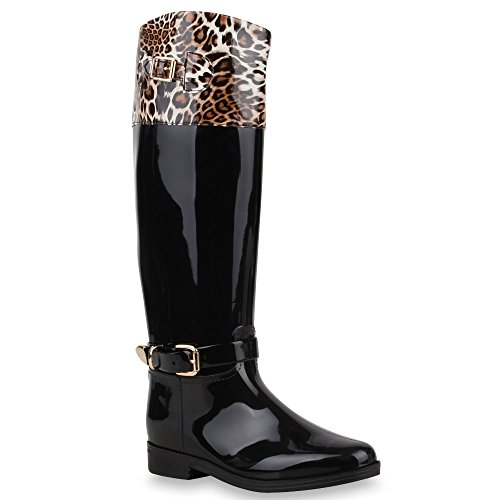 Gesteppte Damen StiefelLack Gummistiefel Metallic Boots SchnallenAnimal Prints wasserdichte Regen Schuhe 64384 Braun Leo 36 Flandell