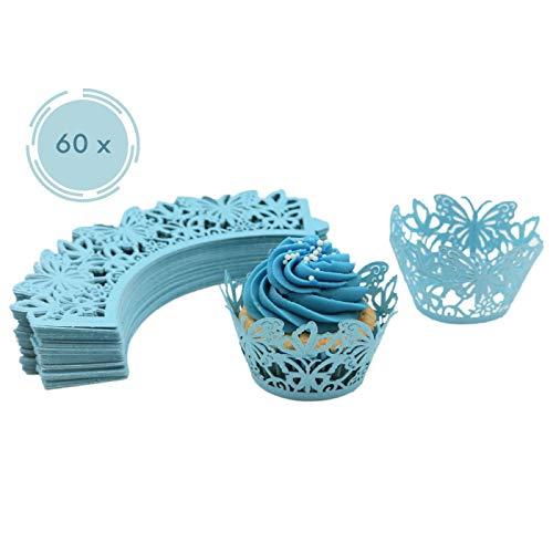 Melidoo 60 Stück Cupcake Wrappers Papierförmchen Muffin Förmchen für Geburtstage, Hochzeiten, Baby Shower (Blau)