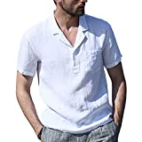 T-Shirt Hombres Verano con Cuello En V De Color Sólido Manga Corta Hombres Shirt Slim Fit Bolsillos De Tapeta con Botones Hombres Shirt Ocio Moderna Y Cómoda Hombres Shirt Playa A-White L