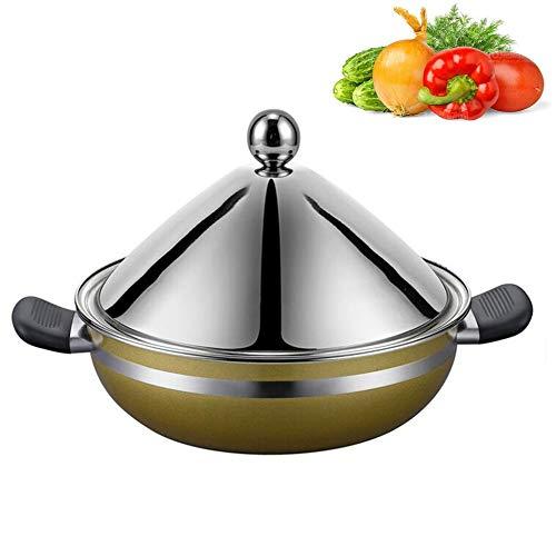 Edelstahl Tajine Topf Original Marokkanische Tajine 100% Bleifrei Safe Zum Kochen Und Eintopf Auflauf Slow Cooker,Silver