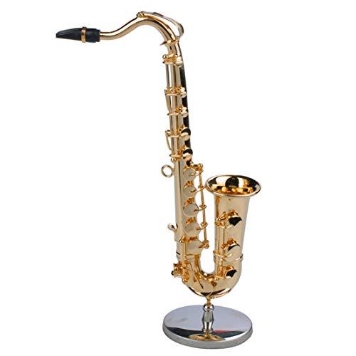 BiaBai Instrumentos musicales de saxofón modelo de saxofón en miniatura artesanal chapado en oro con soporte de Metal para decoración del hogar