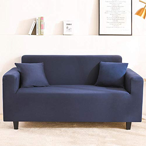 Sofa Cover with Adjustable Elastic Straps 2 seater and 4 seater,Elastic Solid Sofa Cover Stretch All-inclusive for Living Room, sofa Couch Cover Arm Chair Cover 145-185cm and 235-300cm(2pcs)
