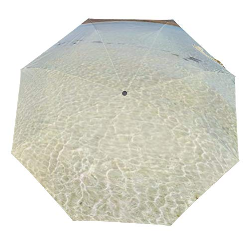 Reizen Paraplu - Stranden-Waters-Doorschijnend-Island-Gabriel-Landschappen-Sand-Beach Auto Opvouwbare Wind Bestand Winddicht Regen Reizen Paraplu