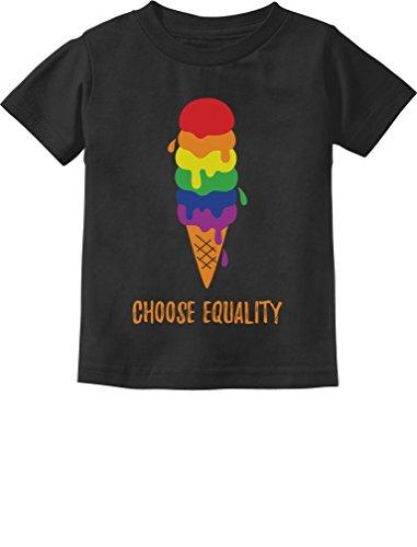 Tstars Equality Rainbow Gay & Lesbian Ice Cream Pride Flag Toddler Kids T-Shirt 2T Black