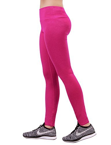ODODOS Women's Mid Waisted Yoga Pants with Pocket, Full-Length Yoga Leggings Workout Pants with Pockets,Fuchsia,XX-Large