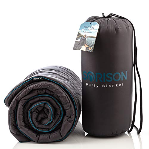 SORISON Puffy Synthetic Down Camping Quilt, Top Quilt and Stadium Blanket for Cold Weather - Great for Campers, RV Owners, Men who Have Everything and Soccer Moms