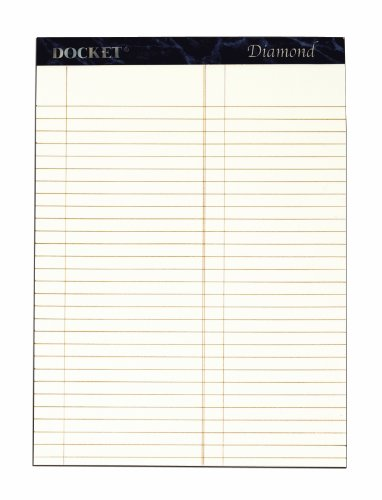 TOPS Docket Diamond 100% Recycled Premium Stationery Tablet, 8-1/2 x 11-3/4 Inches, Perforated, Ivory, Litigation Rule, 50 Sheets per Pad, 2 Pads per Pack (63984)