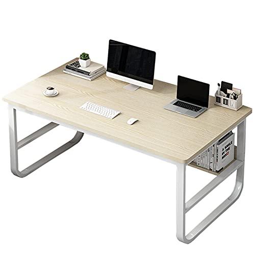 Escritorio de computadora Escritorio de oficina en casa de 47 pulgadas con estantería Mesa de escritura de estudio Escritorio del juego del ordenador portátil de la PC para espacio pequeño,Beige