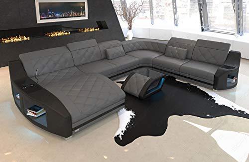 XXL Leder Sofa Wohnlandschaft Swing Couch mit LED Beleuchtung und Becherhaltern (grau-schwarz, Büffelleder)