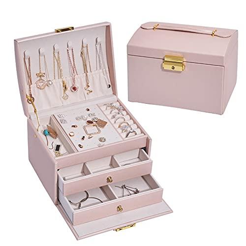 Lichi Joyería, organizador de joyas de viaje con 2 cajones, varios compartimentos y cerradura para niñas, collar, pendientes, anillos, pulsera, color rosa