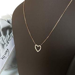 عقد قلب مرصع بالألماس على شكل قلب من الذهب عيار 18