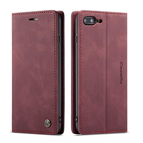 QLTYPRI Hülle für iPhone 7 8 iPhone SE 2020, Vintage Dünne Handyhülle mit Kartenfach Geld Slot Ständer PU Ledertasche TPU Bumper Flip Schutzhülle Kompatibel mit iPhone 7 8 SE 2020 - Rot