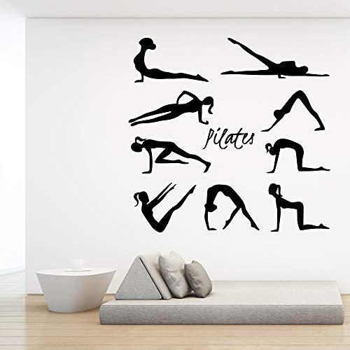 Belleza Pilates Vinilo Pegatinas De Pared Para Estudio De Yoga Dormitorio Sala De Estar Decoración De La Casa Etiqueta Calcomanía Mural 42X43 Cm