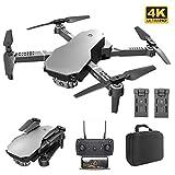 B&H-ERX Drone FPV WiFi avec Double Caméra 4K, Drone Pliable Grand Angle Quadricoptère RC Avion Portable Jouet Contrôle APP Long Temps De Vol 40 Minutes (20 + 20) avec 2 Batteries,Gris